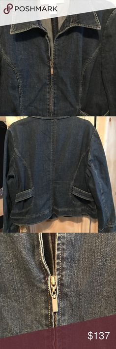 Doncaster Designer Denim Jacket Size 18 This is a Duncaster designer jacket has a lot of designer details to it as princess seems that has the gold rings with the waste detail it has wonderful stitching has a front zipper it was an expensive jacket and it's very well priced it's new it was a sample I purchased and it's never been worn Doncaster Jackets & Coats Jean Jackets