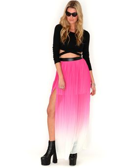 Renne Ombre Pleat Maxi Skirt In Fuchsia