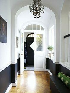 black & white hallway, lots of drama