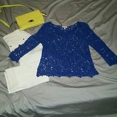 Lace top Royal blue lace top from Delia's. Size largr delias Tops Blouses