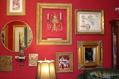 Curtains In My Tree: My Red Wall with golden frames