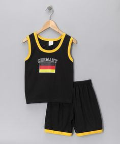 Look at this PAM Black 'Germany' Contrast Tank & Shorts - Infant, Toddler & Boys on #zulily today!