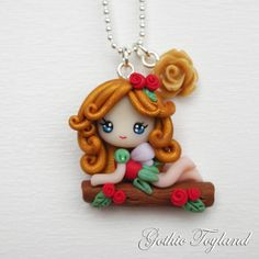 Kawaii Cuties Sweet  Elf Fairy Pendant Necklace with Polymer Clay Gold Red