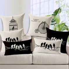 Bird Cushion Covers For Sofa Capa De Almofadas Vintage Decorative Throw Pillow Covers Pillow Massager Home Decor Cojin Funda Diy Pillows, Fabric Sofa, Cushions On Sofa, Sofa Chair, Cushion Cover Designs, Cushion Covers, Bb Cushion, Throw Pillow Cases, Throw Pillows