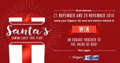 Book between 21 November and 28 November 2016 using your Edgars or Jet card and stand a chance to win an Edgars voucher to the value of R50! Book here https://www.citiliner.co.za/ or at any of our terminals. T&Cs apply.
