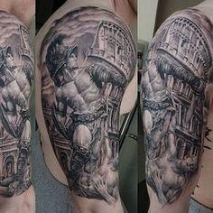 Masculine Men's Gladiator Tattoo