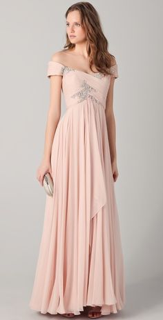 Marchesa off the shoulder gown with beading
