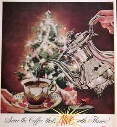 1958 A Coffee Image of Pouring Coffee in Front of Christmas Tree Vintage 50s Print Ad Retro Kitchen Advertisement Art Ephemera. $5.95, via Etsy.