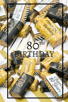 Black And Gold 80th Birthday Party Mini Candy Bar Stickers 54 Count
