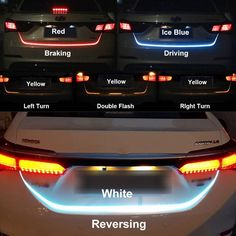 LED Strip Trunk Tail Brake Turn Signal Light Flow Type Ice Blue Red Yellow White in Tail Light Assemblies. Mazda 2, Honda Civic 2006, Led Warning Lights, Peugeot 407, Cute Car Accessories, Lighting Accessories, Vehicle Accessories, Motorcycle Accessories, Car Interior Accessories