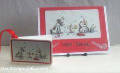 Handmade Birthday Card & Gift Tag,Hot Diggity Dog by Dees Designs
