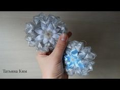 Простые Снежинки Канзаши за 5 мин/ Simple Snowflake Kanzashi for 5 min - YouTube