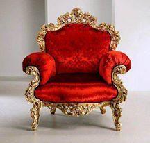 Red Velvet Rococo Chair. Via ClassicInterior