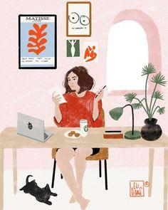 Yo me quedo en casa. I stay at home. Io resto a casa. Art Pop, Painting Inspiration, Art Inspo, Digital Illustration, Graphic Illustration, Poster S, Aesthetic Art, Illustrations, Female Art
