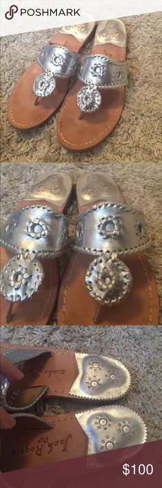 Silver jack rogers Like new, have been worn maybe 5 times at the most. Cute shoes and comfortable, just too big for me. Open to reasonable offers! 😊 Jack Rogers Shoes Sandals