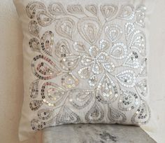 White decorative pillow with silver sequins  by AmoreBeaute
