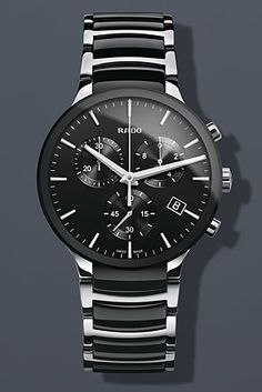 Rado Centrix Chronograph Black Ceramic and Steel Mens Watch R30130152