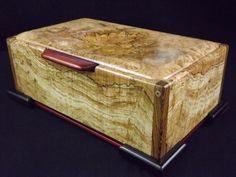 ''TOP SHELF'' DESIGNER ART BOX-BLK LINE SPALTED MAPLE BURL-BOCOTE-BLK GABON-OAK | eBay