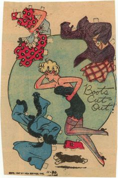 Boots paper doll small size 11-30-1947  I would get so excited for the Sunday News paper to come.  Boots was always in the Funnies section.  A new paper doll each week.