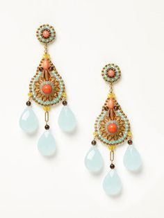 Pink Coral and Smoky Quartz EARRINGS by Miguel Ases at Gilt