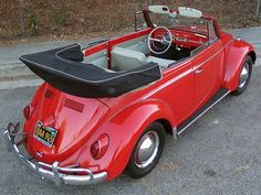 1963 VW Beetle Convertible. Original Poppy Red paint.