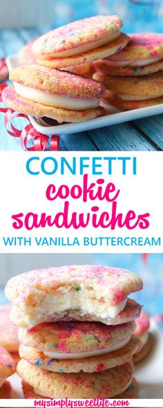 Sweet and chewy confetti cookies made with marshmallow creme sandwiched around a vanilla buttercream center!