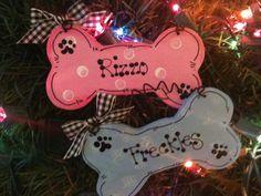 Dog Bone personalized ornament Pet pink or blue Christmas Holiday wooden craft wood sign kennel gift shop- 2014 ROCKS Dog Crafts, Burlap Crafts, Wooden Crafts, Cute Crafts, Pet Craft, Christmas Wood, Blue Christmas, Christmas Holidays, Christmas Decorations