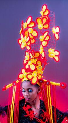 Avant-garde flower art in hair Creative Colour, Flower Art, Flowers, Hair, Color, Jewelry, Art Floral, Jewlery, Jewerly