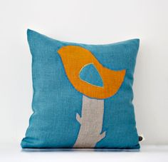 Bird applique on pillow cover  turquoise decorative by pillowlink, $28.00