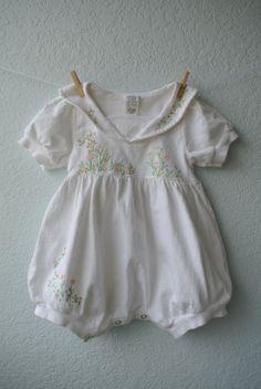 Vintage Baby Clothes  White Cotton Romper with by NellsNiche, $12.00