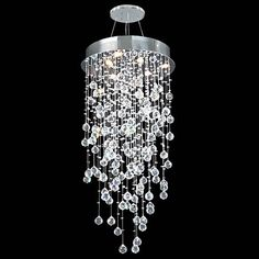 James Moder Lighting Impact Crystal Rain - Six Light Chandelier 40411 - Chandelier Lighting - Crystal - Contemporary Lights Crystal Chandelier Lighting, Silver Chandelier, Pendant Chandelier, Iron Chandeliers, Vintage Chandelier, Foyer Staircase, Staircase Design, Room Lights, Ceiling Lights