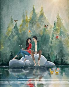 32 Ideas wallpaper couple art for 2019 Love Cartoon Couple, Cute Love Cartoons, Anime Love Couple, Cute Couple Drawings, Love Drawings, Anime Comics, Art Amour, Animated Love Images, Romantic Cartoon Images