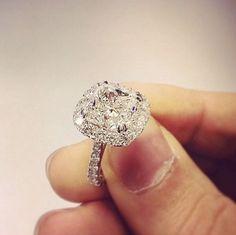 1.70 Ct. Natural Cushion Cut Halo Pave Diamond Engagement Ring - GIA Certified #DiamondMansion #HaloPave