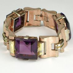 Trifari Philippe Triple Link Square Cut Amethyst Two Colour Gold Tank Bracelet Gold Link Bracelet, Link Bracelets, Vintage Costume Jewelry, Vintage Costumes, Antique Jewelry, Vintage Jewelry, Rhinestone Choker, Amethyst Jewelry, Floral Necklace