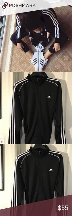 Adidas Superstar Black Jacket  Adidas Superstar Athletic Track Jacket  - Solid black white racing stripes down the sides of the arm, white original logo on the front.  - Size Large. 100% polyester - Light weight - full zip up, collared, front hand pockets..  - long sleeved - semi stretchy high quality material -  Authentic Adidas Active wear.   - Perfect new condition - Super comfortable - NWOT - Purchased from pacsun never got to wear it. adidas Jackets & Coats