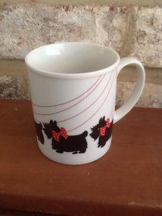 Scottie Dog Coffee Mug Tea Cup Japan Black White Scottish Terrier Bow