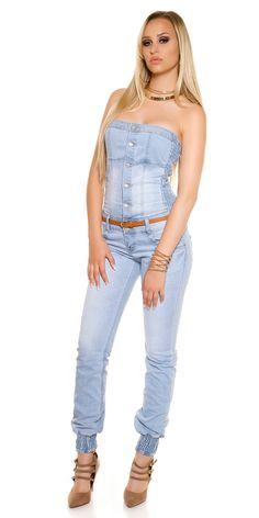 Combinaison jean bleu clair