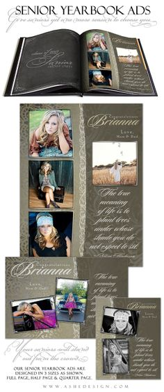 SENIOR Yearbook Ad Sets for Photographers - ANTIQUE DAMASK - (3) Templates - Full page, Half page & Quarter Page Designs on Etsy, $14.99