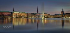 Abend an der Alster - Evening over Jungfernstieg and Ballindamm at the Alster with all the old and historical houses