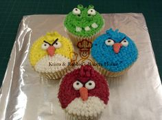 Angry birds buttercream cupcakes