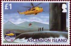 Sello: Sea King and submarine HMS Spartan (Ascensión Isla) (70th Anniversary of RAF Search and Rescue) Mi:AC 1141