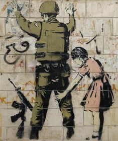 Banksy - Stop & Search, West Bank, 2007 - Spray paint & stencil on reconstituted stone in steel frame and pedestal, 83 x 63 x 12 inches - Original unique street work from Bethlehem