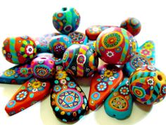 ~ Beads of the day ~ | Polymer clay beads in bright cheerful colors by Aow Dusdee