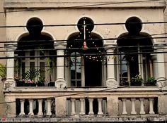 Moorish architecture in Sao Paulo, Brazil Balcony from a house at Oriente street.