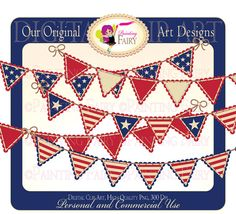 Digital Clipart Happy 4th Forth of July Bunting clip art National designer element layout digital images Personal & Commercial Use by PaintingFairyClipart, $4.00  Everything Else Graphic Design handmade invitations making design goods USA independence day vintage style colors America Celebrations printable decoration old glory American patterned paper card Red White Blue Star bunting clipart flag banner pennant party scalloped resource clipart clip art cu