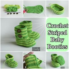 The Homestead Survival   Crochet Striped Baby Booties   http://thehomesteadsurvival.com - Homesteading - Frugal - Craft