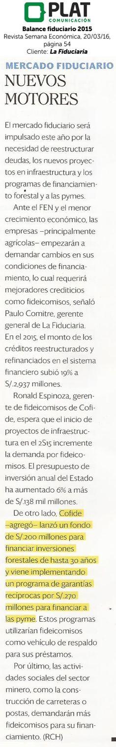 La Fiduciaria: Balance fiduciario en la revista Semana Económica de Perú (20/03/16)