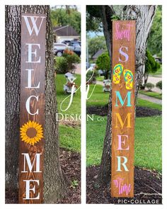 Wooden Welcome Signs, Porch Welcome Sign, Wood Signs, Front Porch Signs, Summer Porch, Summer Crafts, Porch Decorating, Sunflowers, House Warming