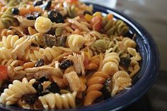 """""""B"""" dubs cafe: Fiesta chicken Pasta salad, had this! I know it's yummy! superbowl party food idea"""
