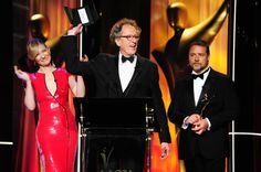 Cate Blanchett, Geoffrey Rush & Russell Crowe on stage at the 2nd AACTA Awards. #AACTAs